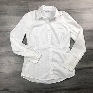 Cabi 6 top button down classic white long sleeve